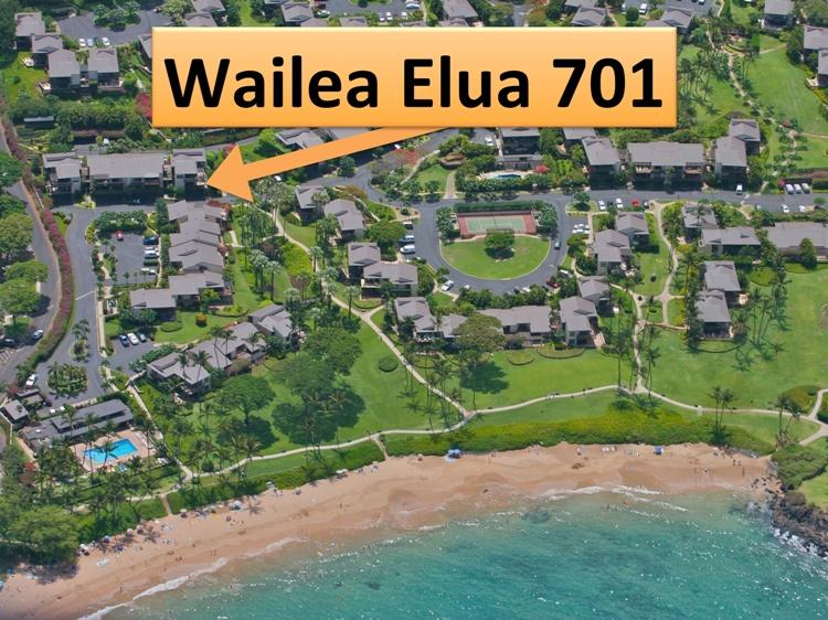 Aerial view of Elua Village showing the location of our condo