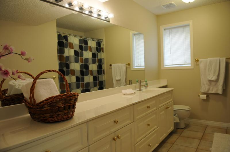 Baño completo en planta baja con bañera/ducha.