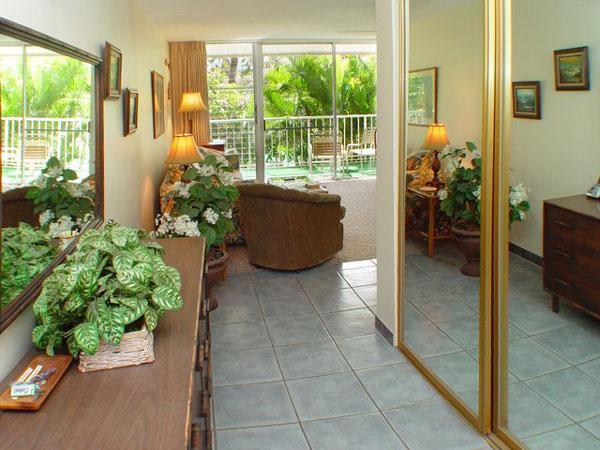Your first view entering our condo #218 (Behr's Escape) in Kihei Kai Nani resort