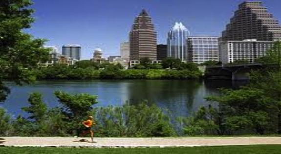 Austin skyline from the ladybird lake trail