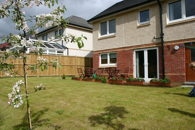 South facing back garden at Motherwell Self Catering