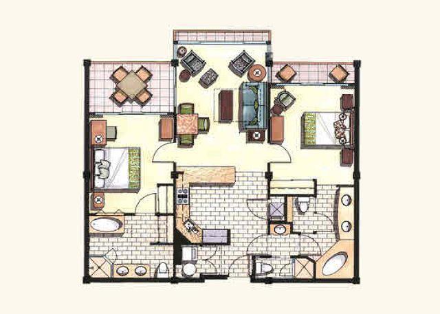 Piso plano e mobiliário A203