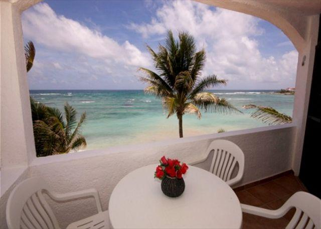 Caribbean view from the private terrace at Luna Azul 5.
