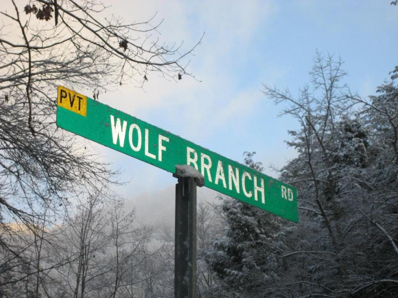 Signage as One Turns onto (Private) Wolf Branch Road