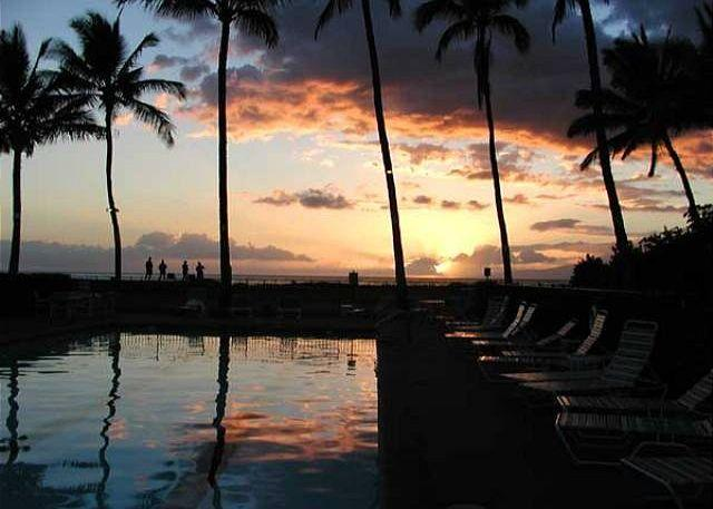 sunset from the pool area