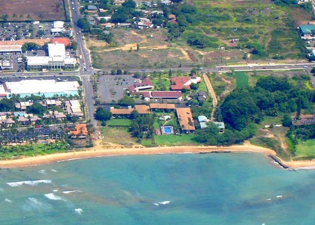 Waiohuli Beach Hale, ocean front aerial view