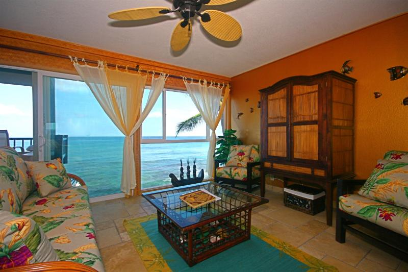 Oceanfront living room- the water is that close!