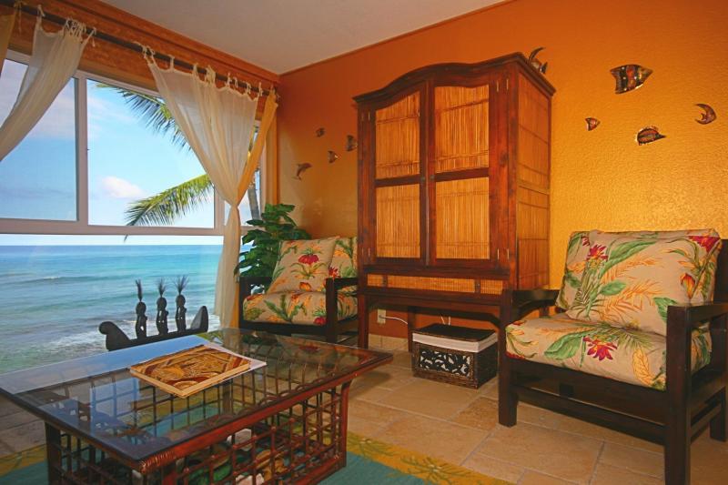 Teck meuble avec TV LCD 37 pouces vue face à l'océan