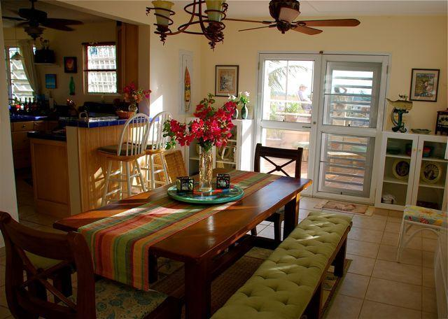The dining room, just off the kitchen and the barbeque deck.