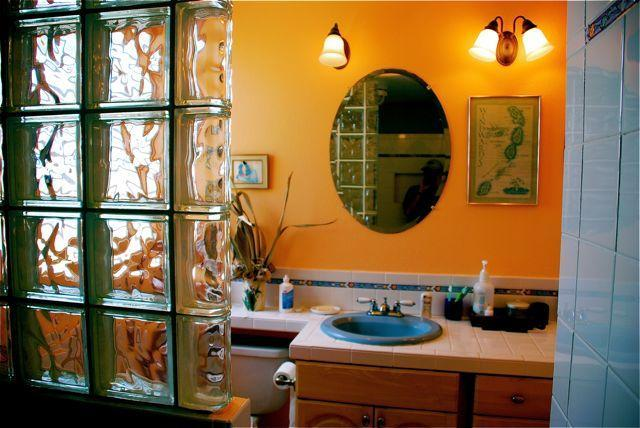 Adjoining Master Bath with two person glass block shower.