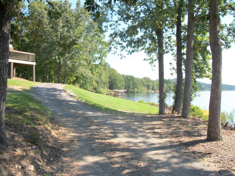 Delightful lakefront path behind the Coronado Center pool.