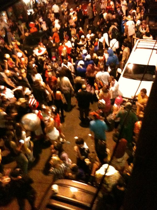 Crowds below on Halloween