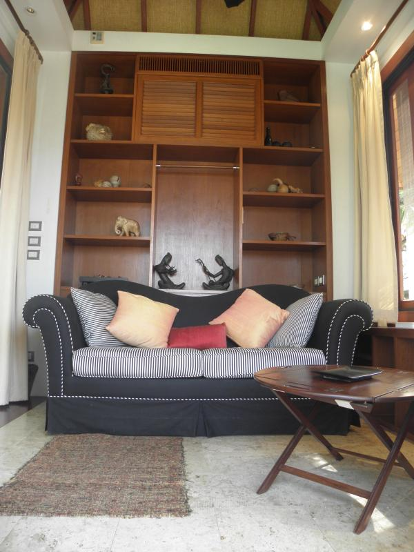 Upstairs in the annexe, comfortable living room convertible to bedroom, with sofa bed