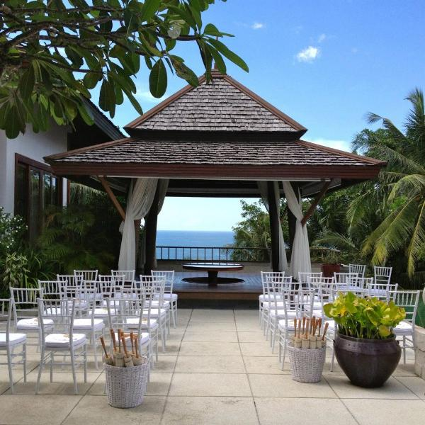 Our pool terrace is the perfect spot for a tropical wedding