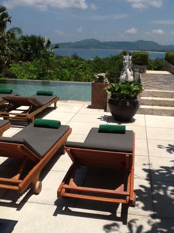 Sun loungers on the pool terrace