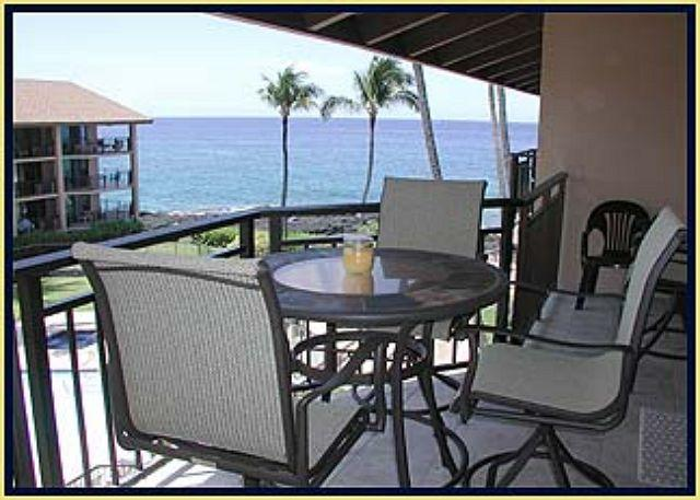 Comfortable outdoor dining at bar height to extenuate the view!