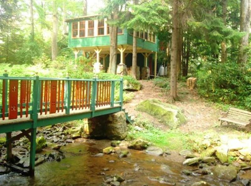 Bridge leading to cottage