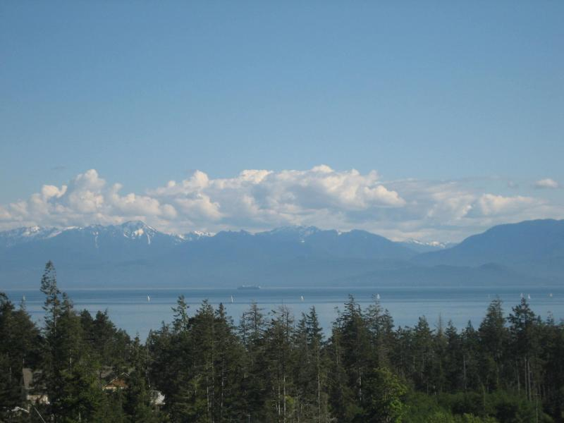 View of Olympic Mountains & Strait of Juan de Fuca from hot tub