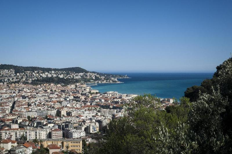 View of the city center and Promenade des Anglais from outside the domain gate