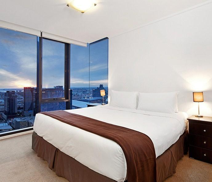 Master bedroom with panaromic views across Port Philip Bay and Yarra River