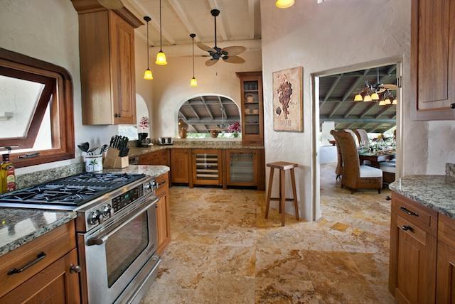 Gourmet Kitchen Sub-zero fridge, wine and beverage cooler. Icemaker, dishwasher the Thermador range.