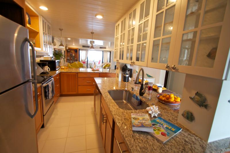 View from Kitchen to dining area to living area to the View - Open to the breezes - it's perfect