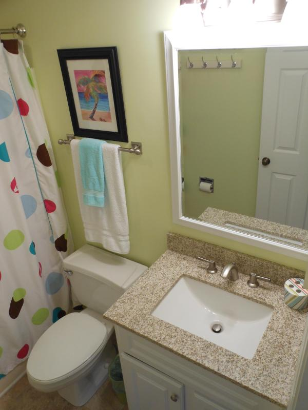 Private second bathroom- Newly renovated in 2012! New tile & granite countertops