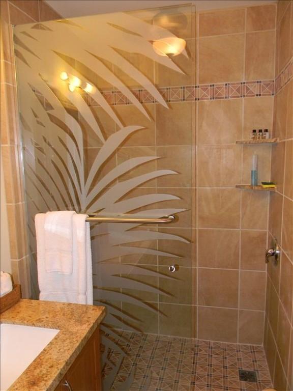 Cabina de ducha con panel de cristal hoja diseñado italiano azulejo y Palma