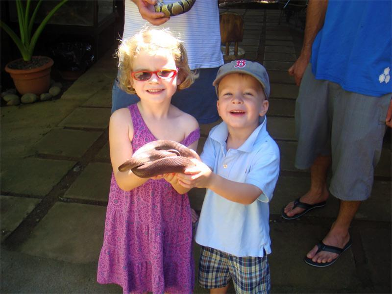 kids holding snakes at the petting zoo