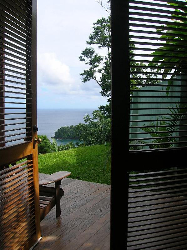 View from master bedroom French doors