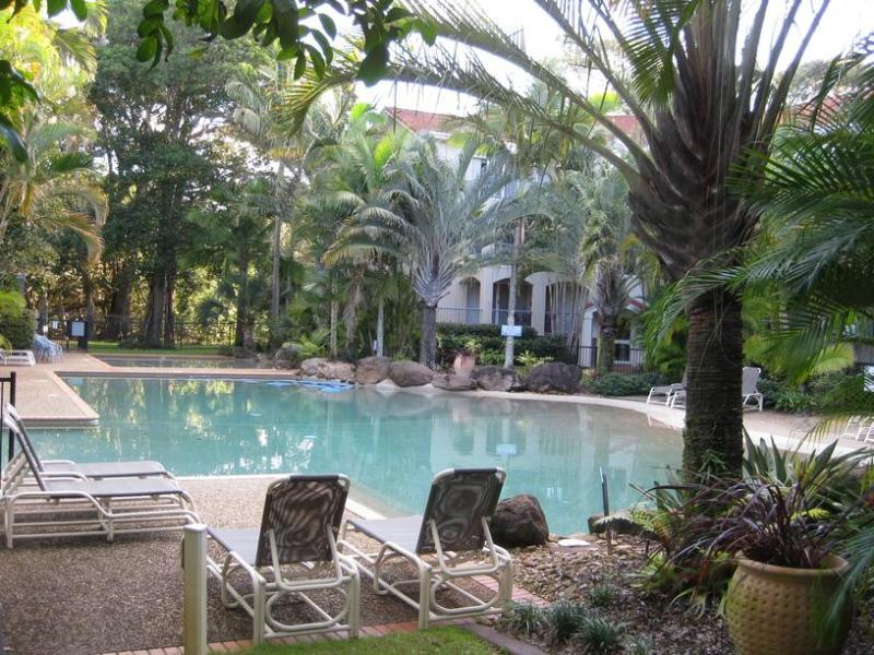 The large lagoon pool (not heated) is set among lush gardens. There is a wading pool and heated spa.