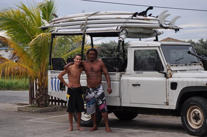 Alessandro and Junior going surfing