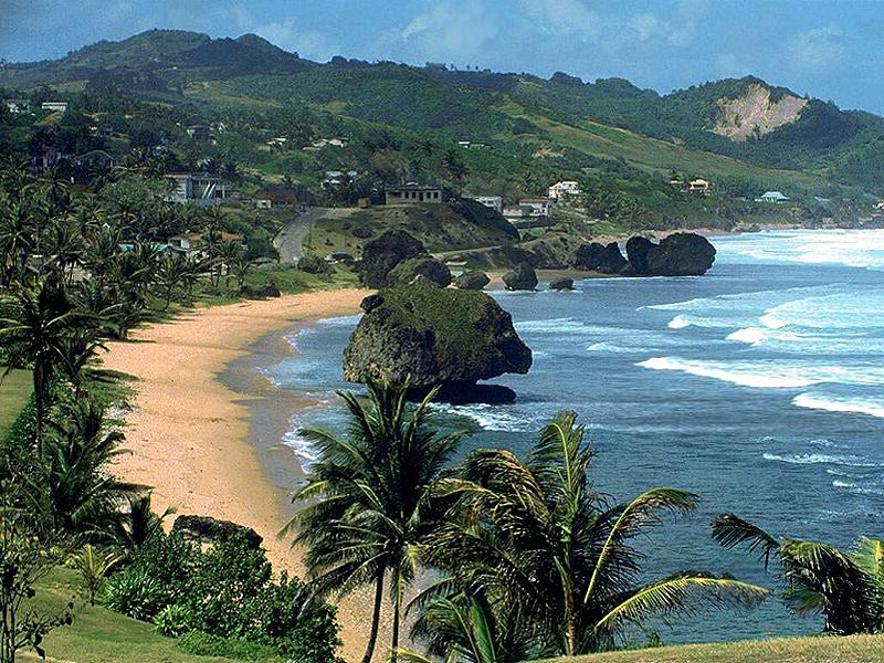 Bathsheba, also the wild Atlantic. Surfing championships held here.