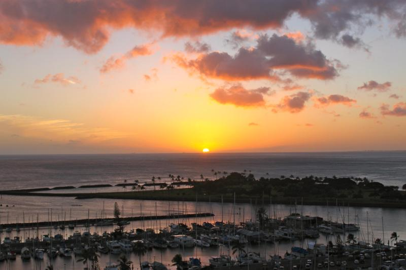 Sunset a new work of art every night from this Penthouse Paradises lanai