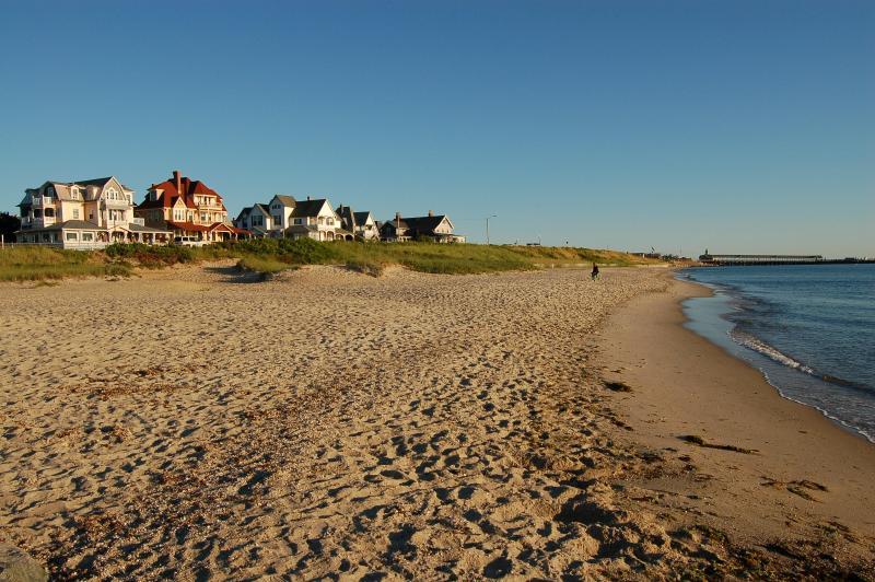 Oak Bluffs town beach at high tide