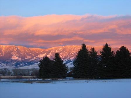Winter Alpenglow on the Madison Range