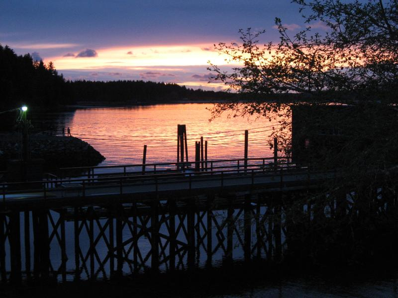 Sunset view from balcony overlooking Clayoquot Island