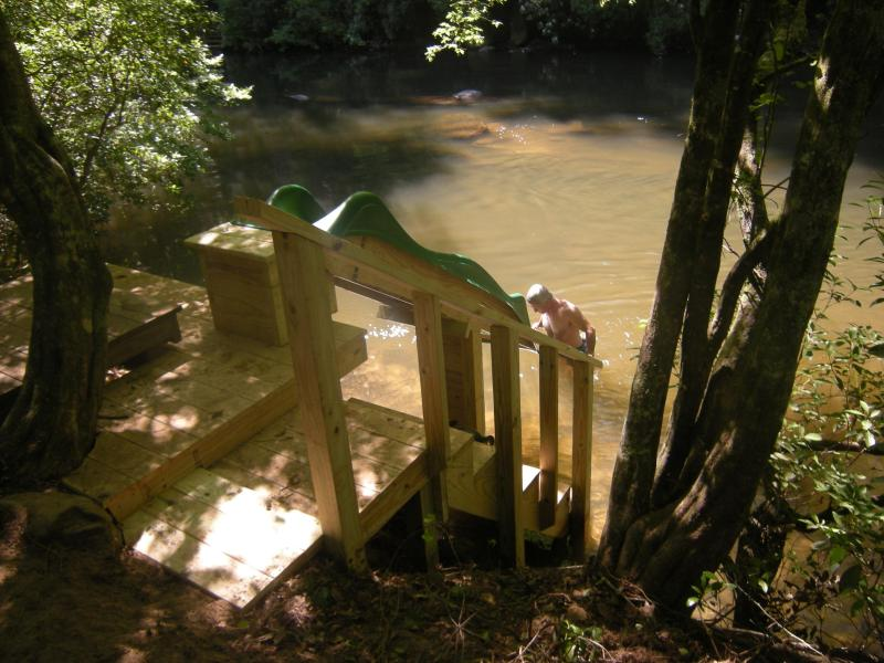 New slide and steps into the river in your back yard