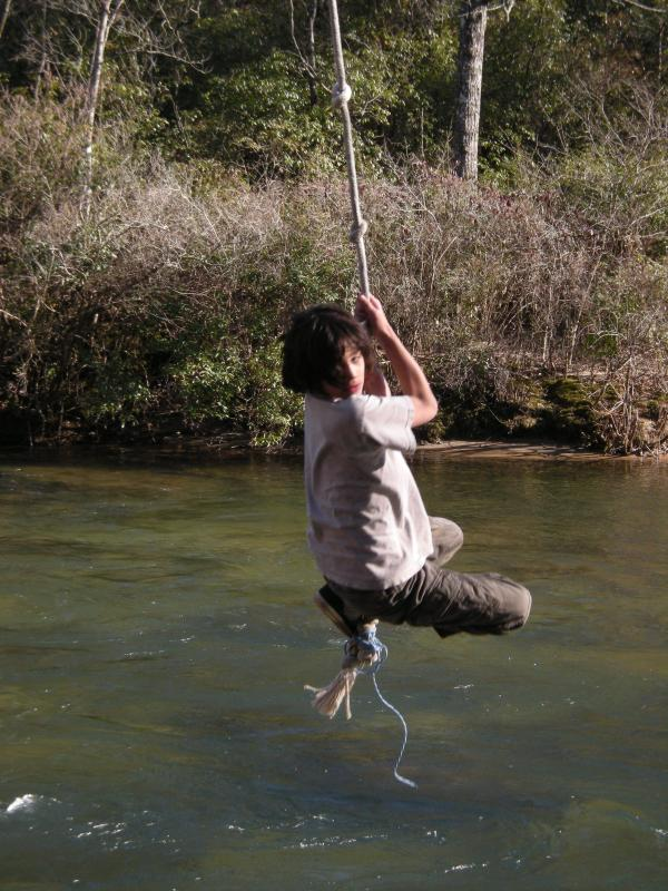 Even in winter kids want to use the rope swing!!