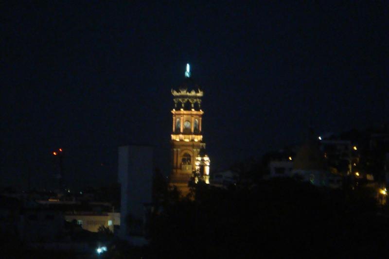 church tower at night from the balcony