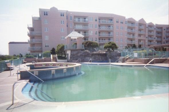 oceanfront pool, kiddie pool, gazebo, hottub area and waterfall pool