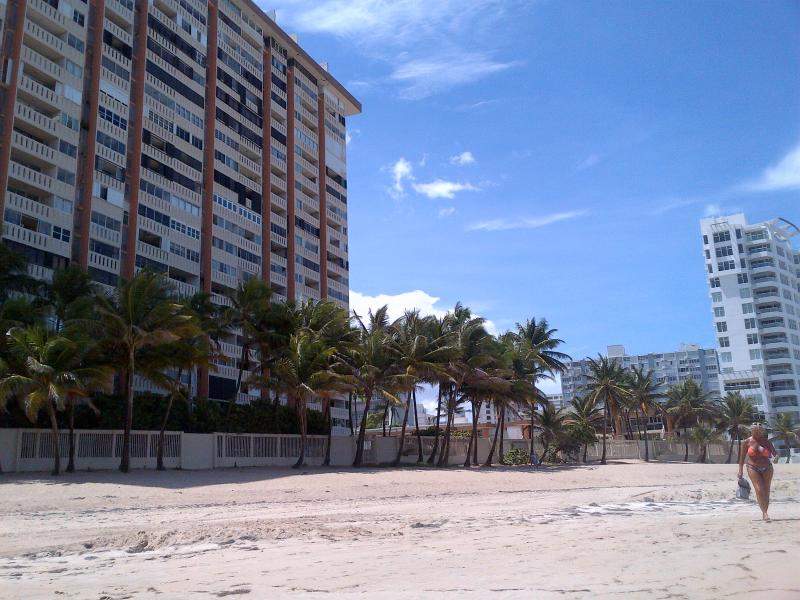View of the apartment building from the beach