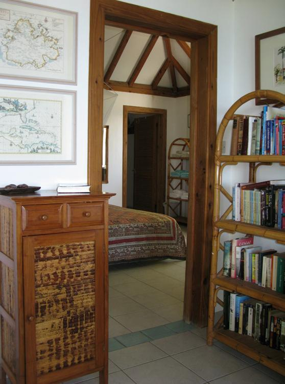 Shell Villa features original artwork and a substantial book collection