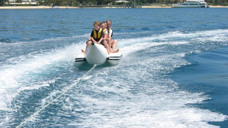 Banana boat rides out the front of Tangalooma
