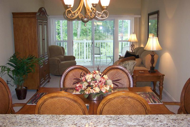 Dining room, living room and porch