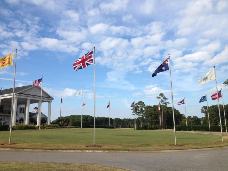Flags in front of World Tour Clubhouse