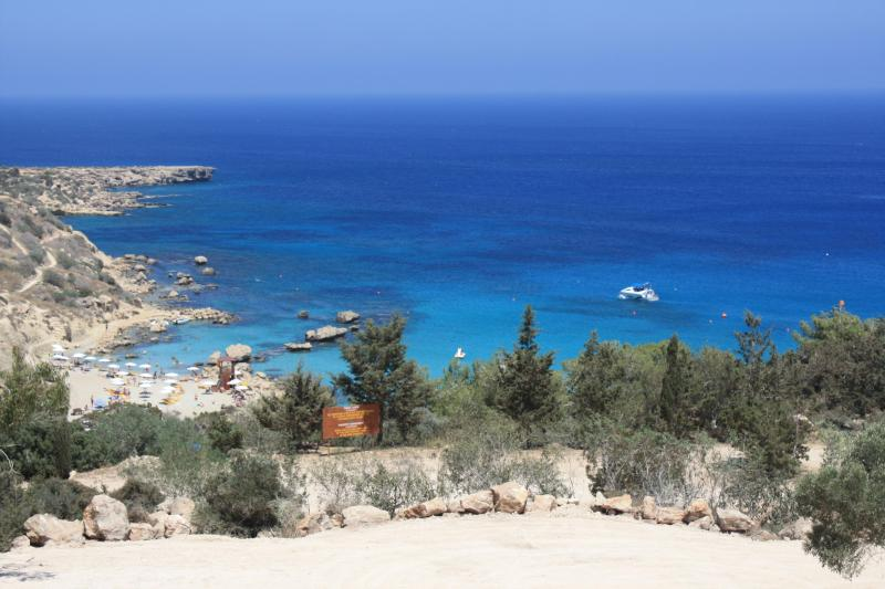 The cool blue waters at Konnos Bay