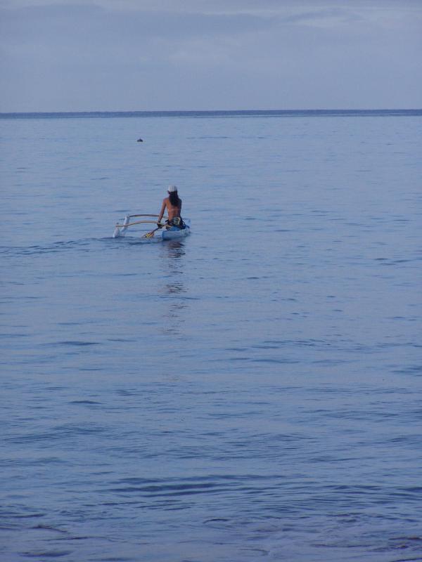 Outrigger richting dusk - dolfijn voor haar