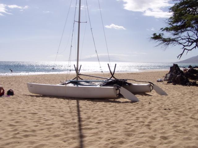 Catamaran - meestal altijd op onze strand