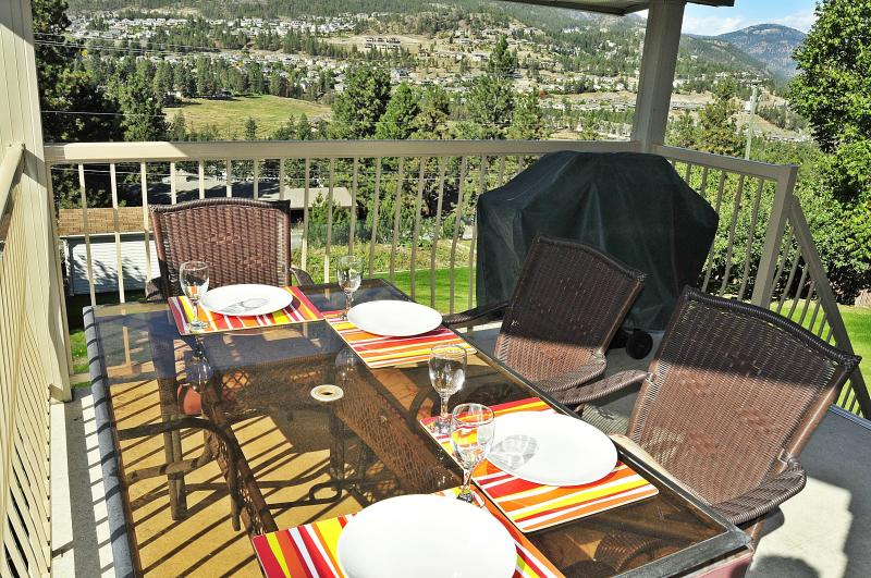 Covered Deck with table, chairs & bar-b-que. Fabulous valley and lake view.